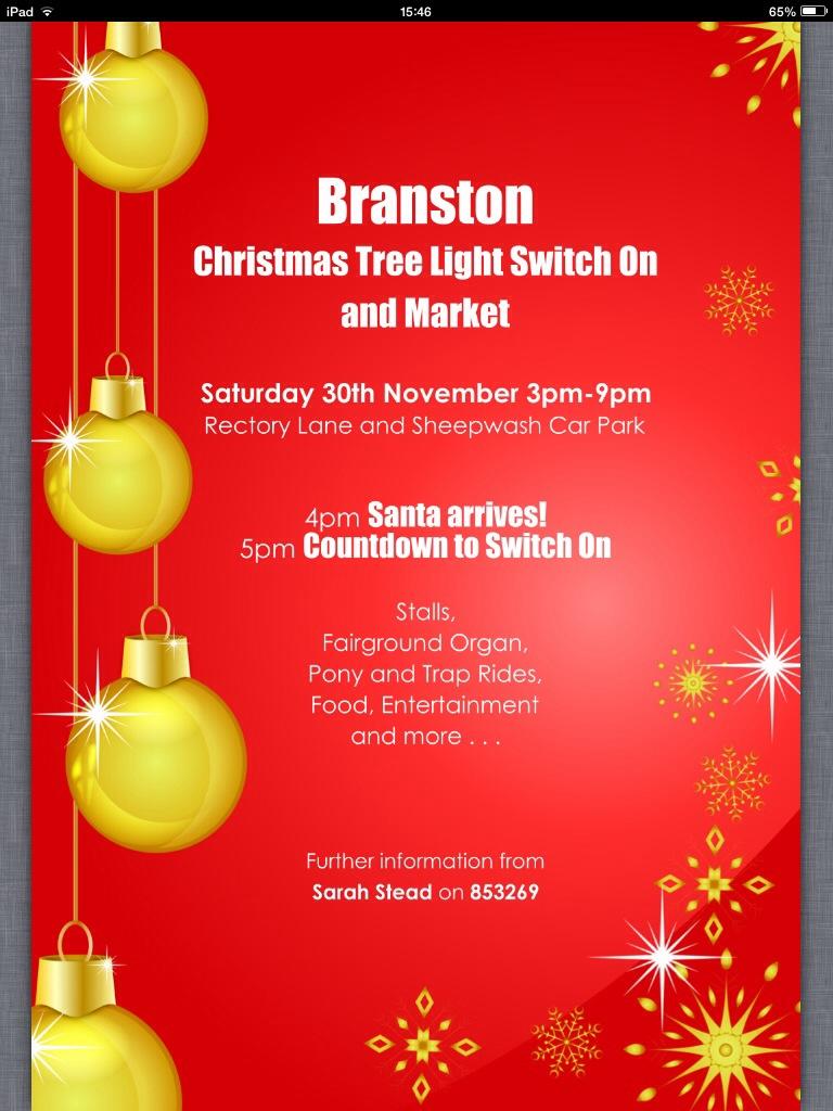Branston Christmas Tree Light Switch On & Market - poster ...
